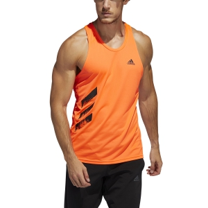Canotta Running Uomo Adidas Own The Run 3 Stripes Canotta  Solar Red FQ2530