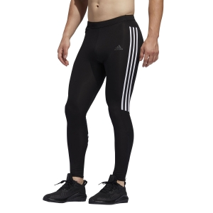 Men's Running Tights Adidas Own The Run 3 Stripes Tights  Black ED9295