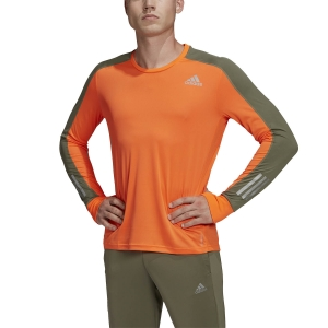 Men's Running Shirt Adidas Own The Run Block Shirt  App Signal Orange/Legacy Green GC7906