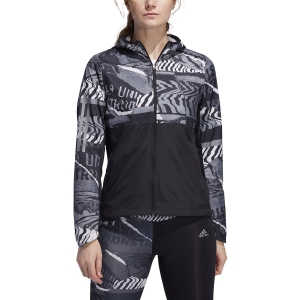 Women's Running Jacket Adidas Own The Run Wind City Clash Jacket  Black/Grey One/Grey Six ED9312