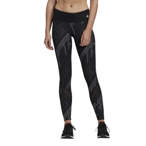 Women's Running Tight Adidas Own The Run Graphic Tights  Black/Grey Five/Dgh Solid Grey GH7901