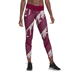 Women's Running Tight Adidas Own The Run Graphic Tights  Power Berry/Dash Grey/Signal Green GC6676