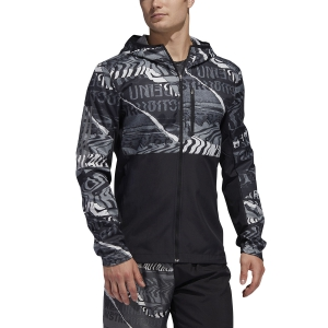 Men's Running Jacket Adidas Own The Run Graphic Jacket  Black/Grey One F17/Grey Six ED9284