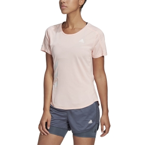 adidas Run It Primeblue 3 Stripes T-Shirt - Haze Coral