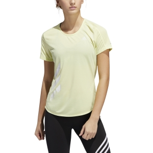 Women's Running T-Shirts Adidas Run It 3 Stripes TShirt  Yellow Tint FR8385