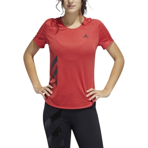 Women's Running T-Shirts Adidas Run It 3 Stripes TShirt  Glory Red FR8387