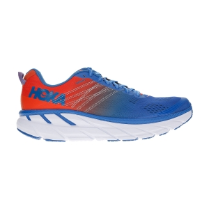 Men's Neutral Running Shoes Hoka One One Clifton 6  Mandarin Red/Imperial Blue 1102872MRIB