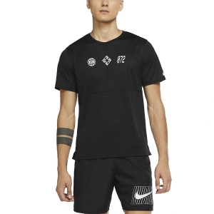 Camisetas Running Hombre Nike Breathe Wild Run Camiseta  Black/White/Reflective Silver CU6062010