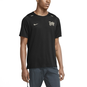 Men's Running T-Shirt Nike DriFIT Rise 365 Wild Run TShirt  Black/Light Bone/Reflective Silver CU5694010