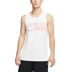 Nike Dri-FIT Logo Tank - White/Hyper Crimson
