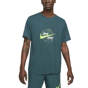 Nike Dri-FIT Miler Wild Run Maglietta - Dark Teal Green/Reflective Silver