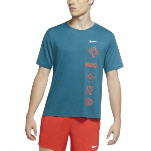 Men's Running T-Shirt Nike DriFIT Miler Wild Run TShirt  Geode Teal/Team Orange/Reflective Silver CU6038381