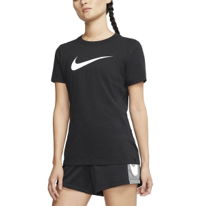 Maglietta Fitness e Training Donna Nike Dry Crew Maglietta  Black/Heather/White AQ3212011