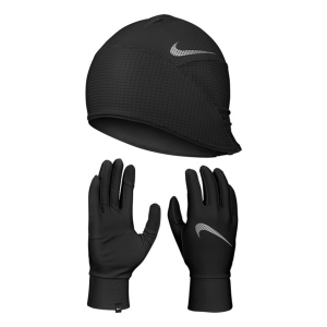 Running gloves Nike Essential Beanie and Gloves  Black/Silver N.100.0594.082