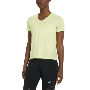 Maglietta Running Donna Nike Miler VNeck Maglietta  Lime Light/Reflective Silver AT6756367