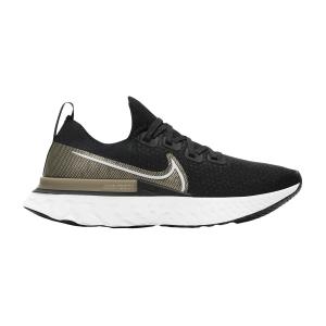 Nike React Infinity Run Flyknit Premium - Black/White/Mtlc Gold Silk/Newsprint