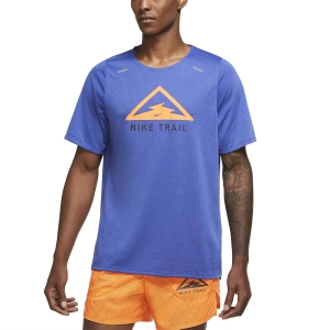 Camisetas Running Hombre Nike Rise 365 Trail Camiseta  Astronomy Blue/Total Orange CQ7951430