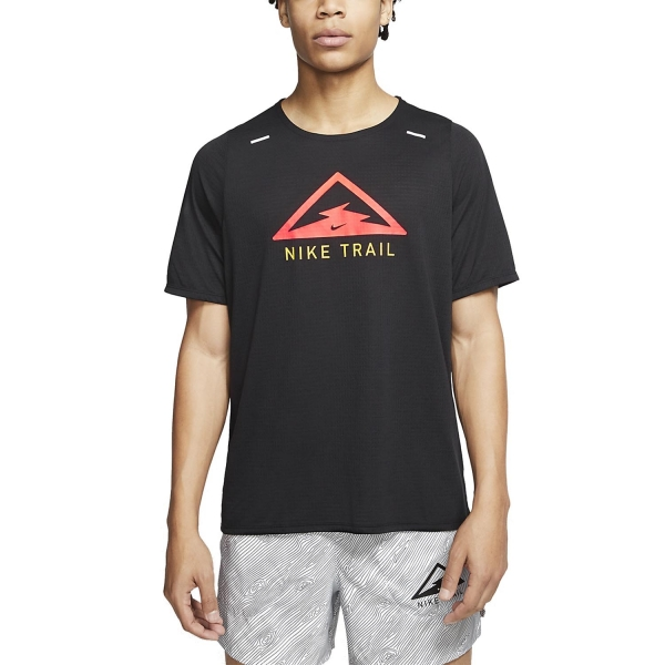 Nike Rise 365 Trail T-Shirt - Black/Laser Crimson