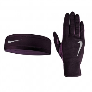 Running gloves Nike Run Headband and Glove Woman  Purple N.RC.38.661