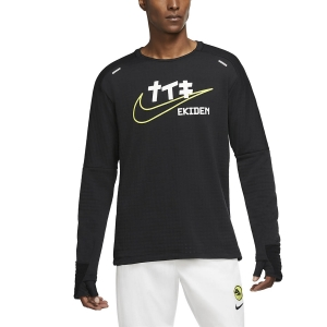 Men's Running Shirt Nike Sphere Element Ekiden Shirt  Black/Cyber DC4041010