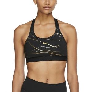 Nike Swoosh Icon Clash Sports Bra - Black/Metallic Gold