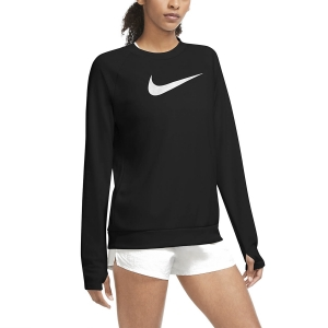 Women's Running Shirt Nike Swoosh Run Crew Shirt  Black/White CU3259010