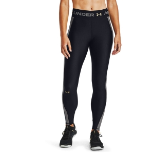 Women's Fitness & Training Pants and Tights Under Armour HeatGear Logo Tights  Black/Charcoal Light Heather/Metallic Gold Luster 13605520001