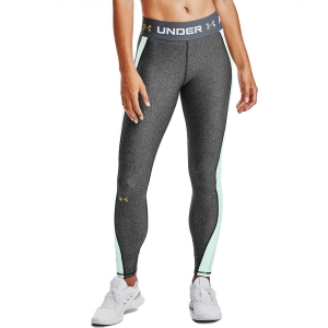 Women's Fitness & Training Pants and Tights Under Armour HeatGear Logo Tights  Charcoal Light Heather/Seaglass Blue/Metallic Gold Luster 13605520019
