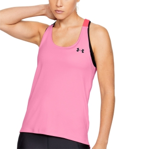 Women's Running Tank Under Armour HeatGear Wordmark Double Strap Tank  Pink 13556090691