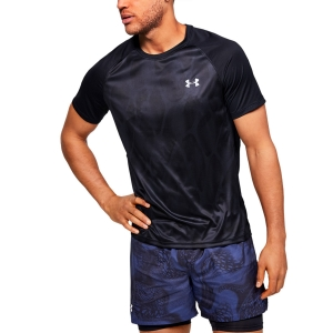 Men's Running T-Shirt Under Armour Qualifier IsoChill Printed Tshirt  Black 13501330002