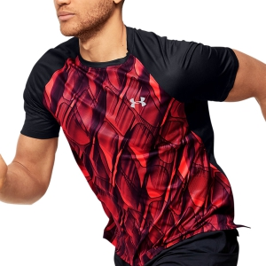 Men's Running T-Shirt Under Armour Qualifier IsoChill Printed Tshirt  Red 13501330628