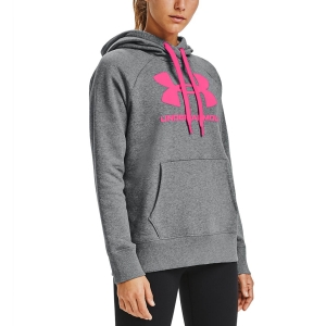 Women's Fitness & Training Shirt and Hoodie Under Armour Rival Logo Hoodie  Pitch Gray Medium Heather/Cerise 13563180012