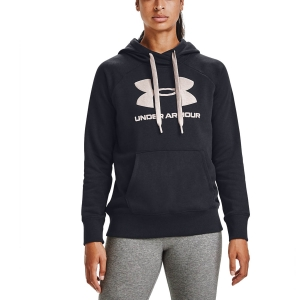Women's Fitness & Training Shirt and Hoodie Under Armour Rival Logo Hoodie  Black/Desert Rose 13563180003