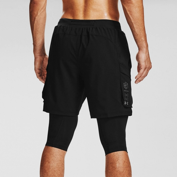 Under Armour Run Anywhere 2 in 1 7in Shorts - Black/Reflective