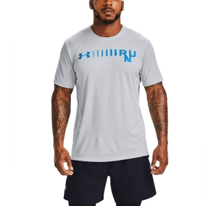 Men's Running T-Shirt Under Armour Speed Stride Graphic TShirt  Halo Gray/Electric Blue/Reflective 13536630015