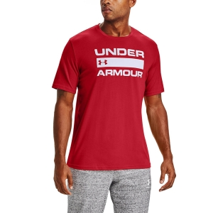 Maglietta Fitness e Training Uomo Under Armour Team Wordmark Maglietta  Versa Red/White 13295820608