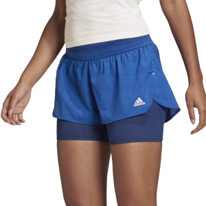 Pantaloncini Running Donna Adidas Heat.Rdy 2 in 1 2in Pantaloncini  Team Royal Blue/Tech Indigo FN3340