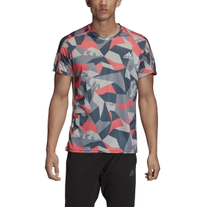 Maglietta Running Uomo Adidas Own The Run Graphic Camo Maglietta  Orbit Grey/Signal Pink/Legacy Blue GC7938