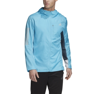 Adidas Own The Run Wind Jacket - Signal Cyan/White/Legacy Blue