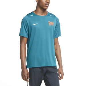 Men's Running T-Shirt Nike DriFIT Rise 365 Wild Run TShirt  Geode Teal/Team Orange/Reflective Silver CU5694381