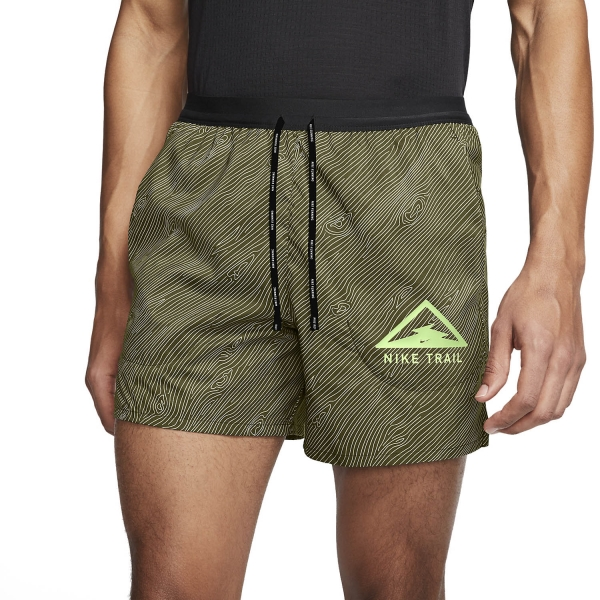 Nike Flex Stride Trail 5in Shorts - Medium Khaki/Black/Barely Volt