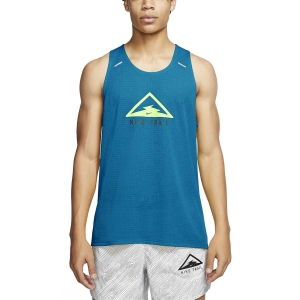 Canotta Running Uomo Nike Rise 365 Trail Canotta  Laser Blue/Barely Volt CT7370446