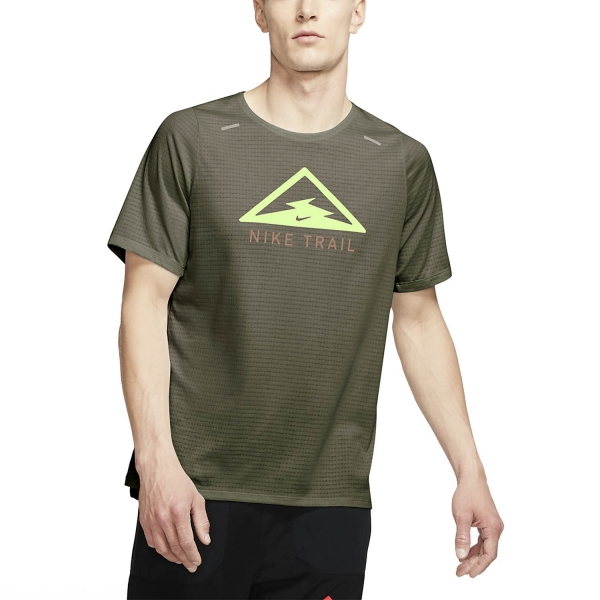 Nike Rise 365 Trail T-Shirt - Medium Olive/Barely Volt