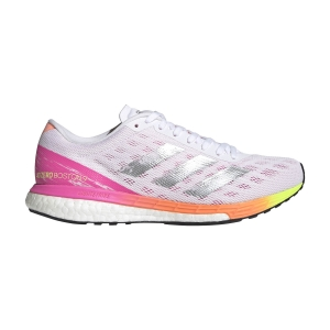 Zapatillas Running Performance Mujer Adidas Adizero Boston 9  Ftwr White/Silver Met/Screaming Pink H68744