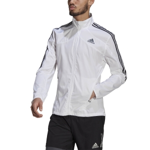 adidas Marathon 3 Stripe Jacket - White/Black