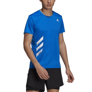 Camisetas Running Hombre adidas Run It Primeblue 3 Stripes Camiseta  Football Blue H32567