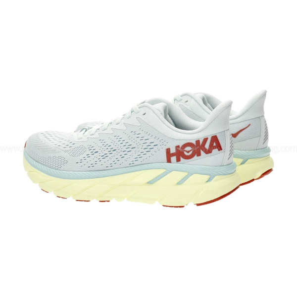 Hoka One One Clifton 7 - Morning Mist/Hot Coral
