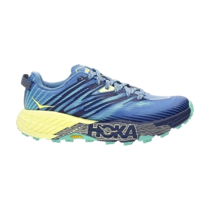 Women's Trail Running Shoes Hoka One One Speedgoat 4  Provincial Blue/Luminary Green 1106527PBLG