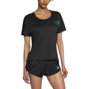 Maglietta Running Donna Nike City Sleek Icon Clash Maglietta  Black/Chlorine Blue CZ9547010