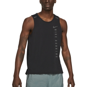 Men's Running Sleeveless Nike Hybrid Miler Tank  Black/Reflective Silver DA1312010
